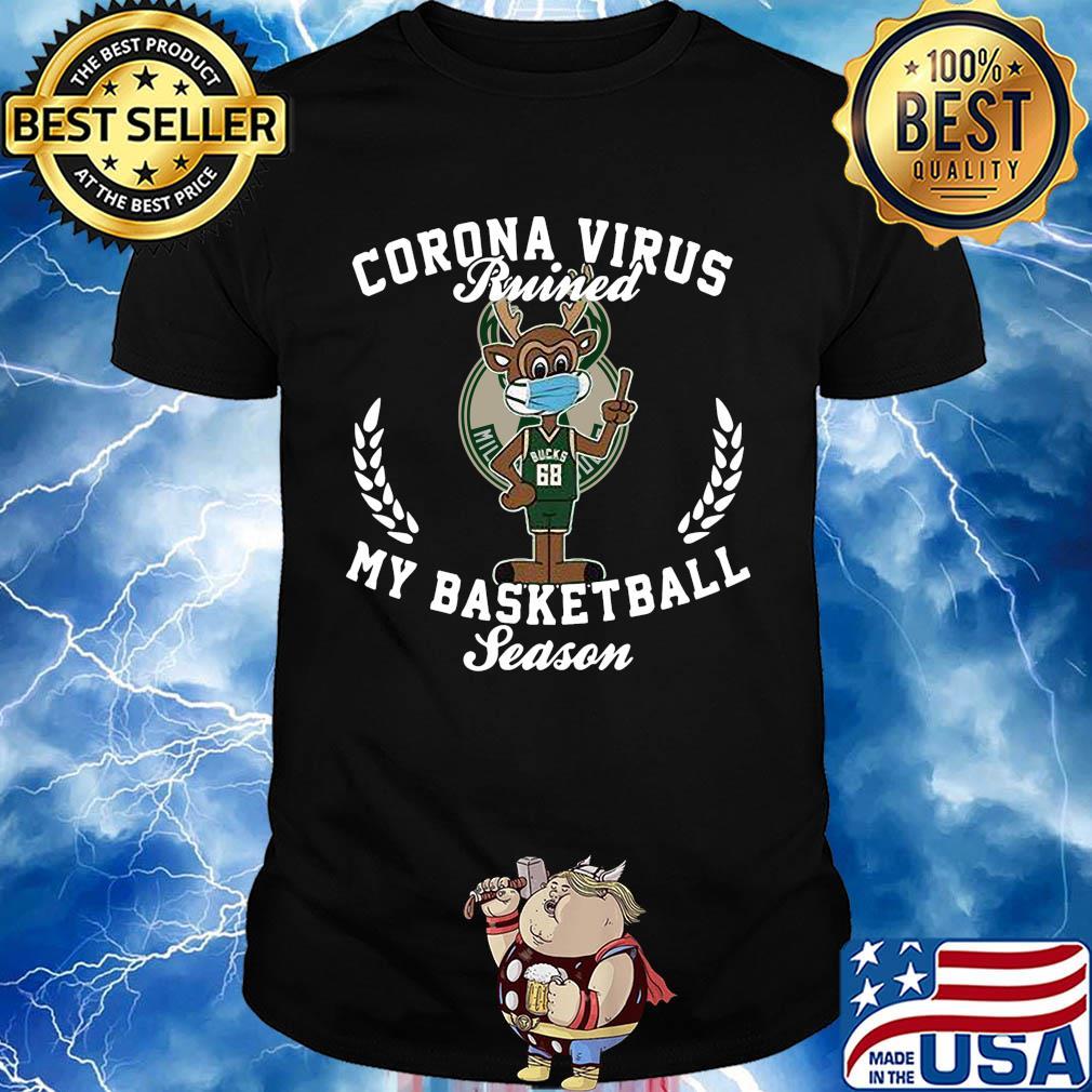 Milwaukee Bucks 68 corona virus ruined my basketball season shirt