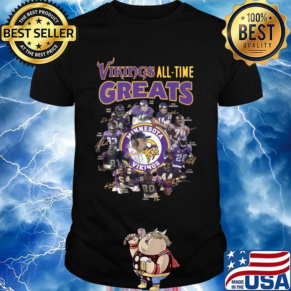 Minnesota vikings all-time greats alan page randymoss carl eller signatures shirt