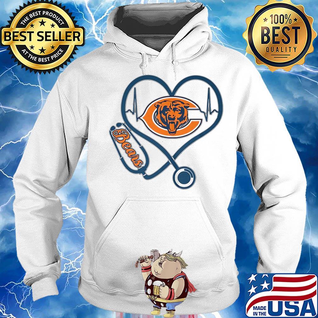 Stethoscope heart beat Chicago Bears s Hoodie