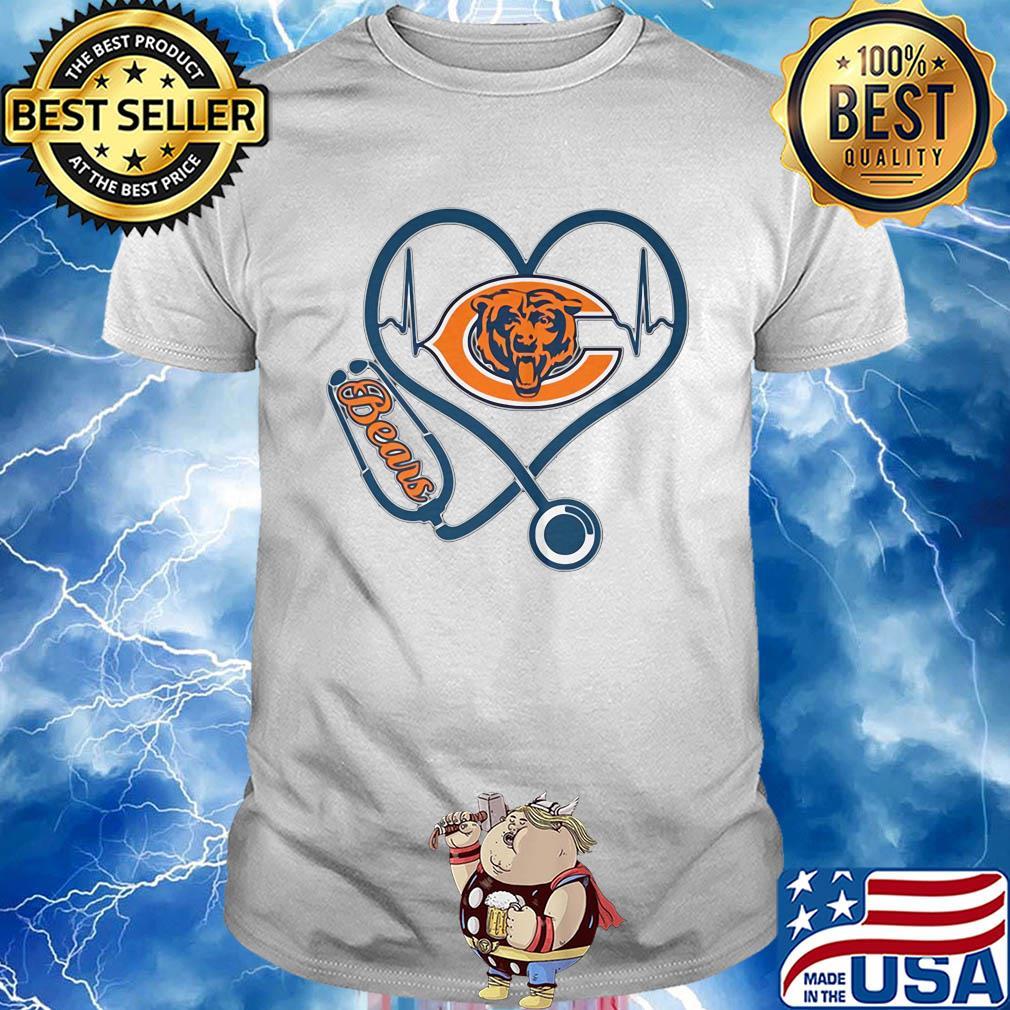Stethoscope heart beat Chicago Bears shirt