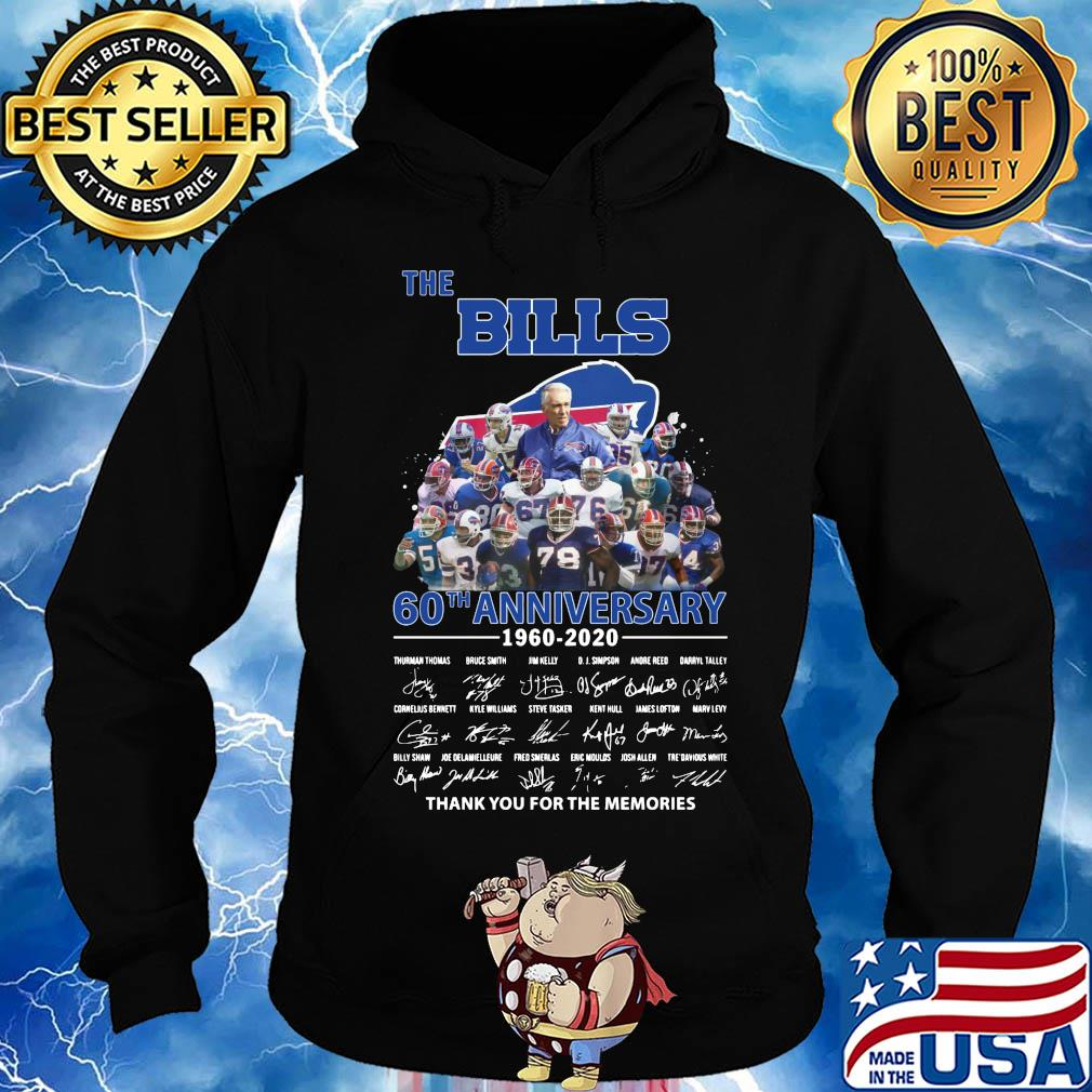 The Buffalo Bills 60th anniversary 1960-2020 signatures thank you for the memories s Hoodie