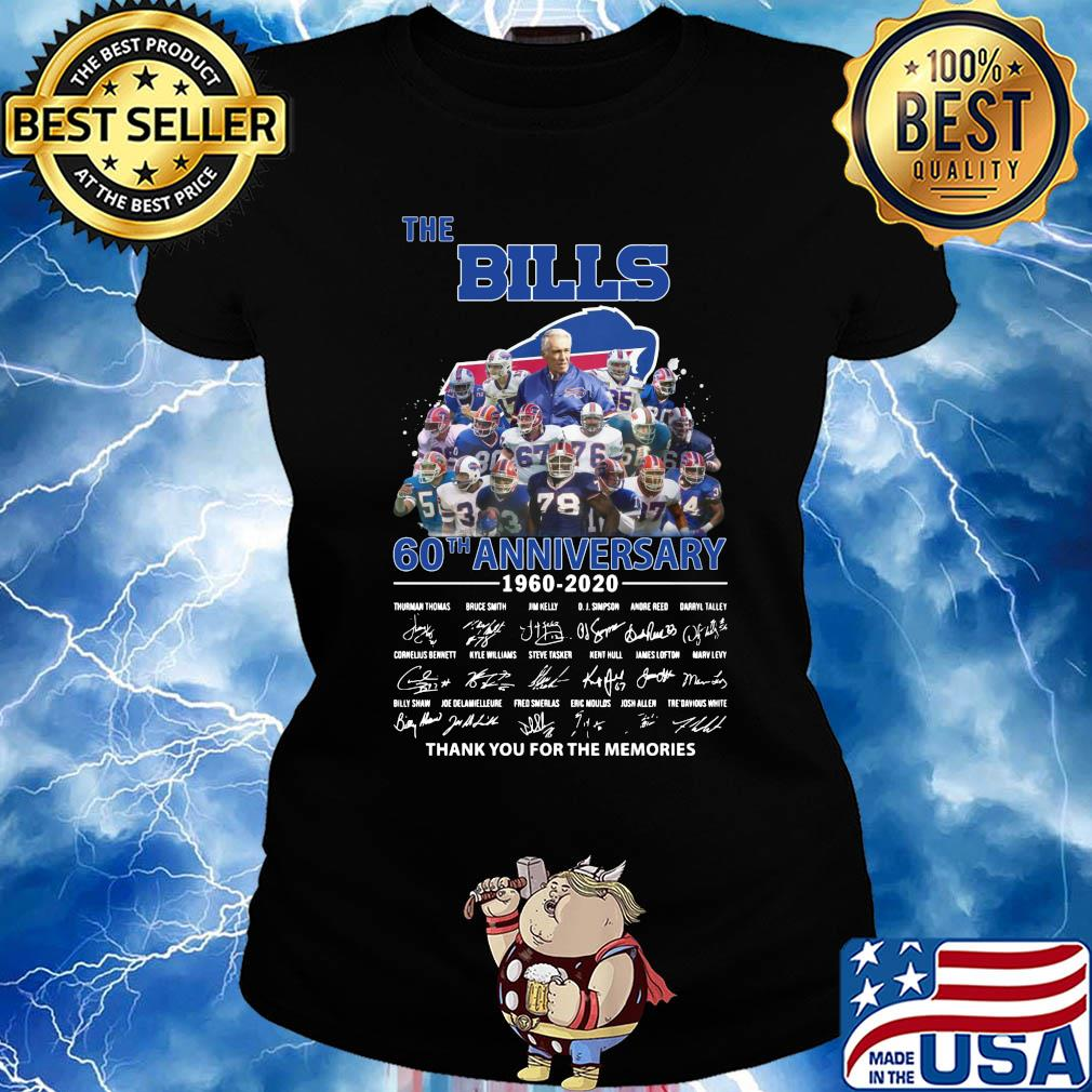 The Buffalo Bills 60th anniversary 1960-2020 signatures thank you for the memories s Ladies tee