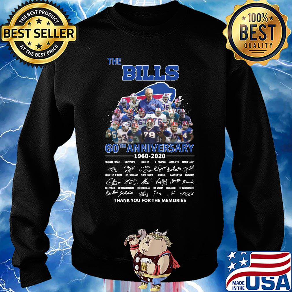 The Buffalo Bills 60th anniversary 1960-2020 signatures thank you for the memories s Sweater