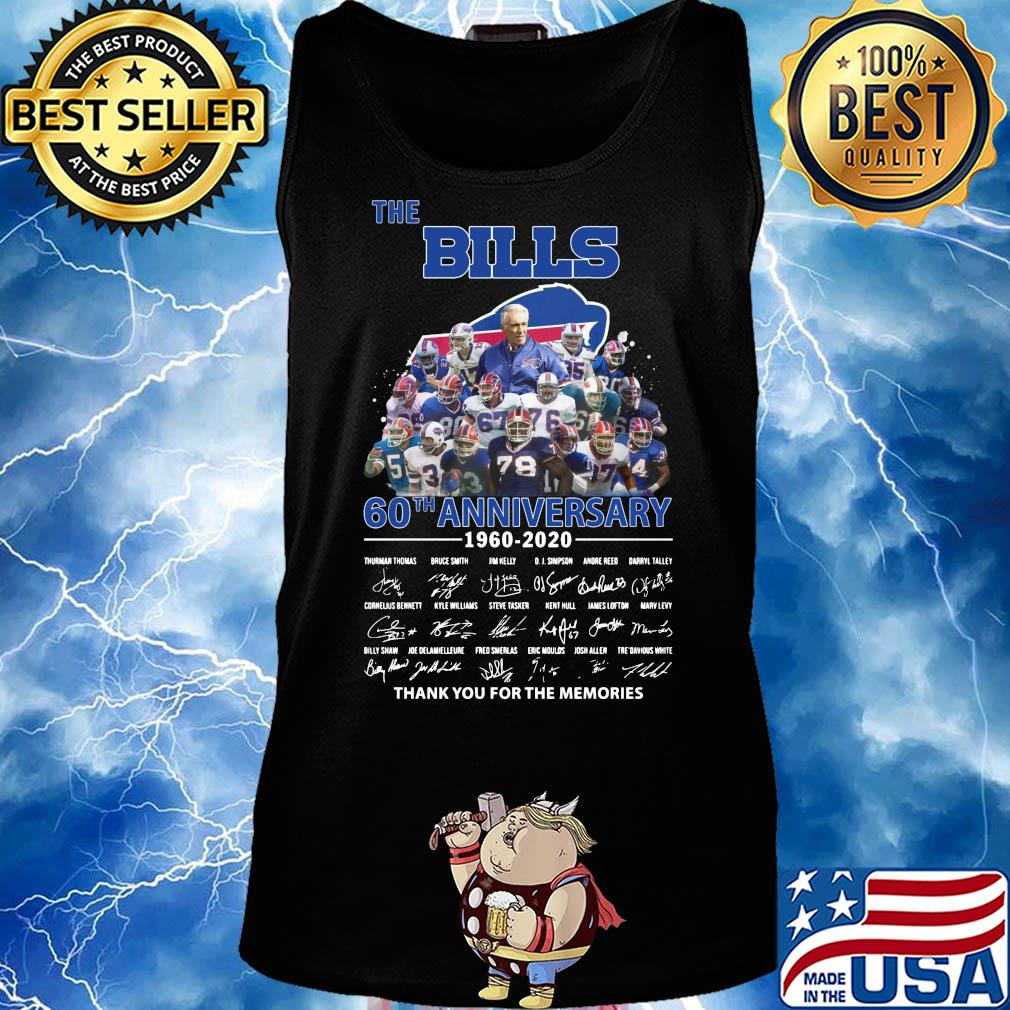 The Buffalo Bills 60th anniversary 1960-2020 signatures thank you for the memories s Tank top