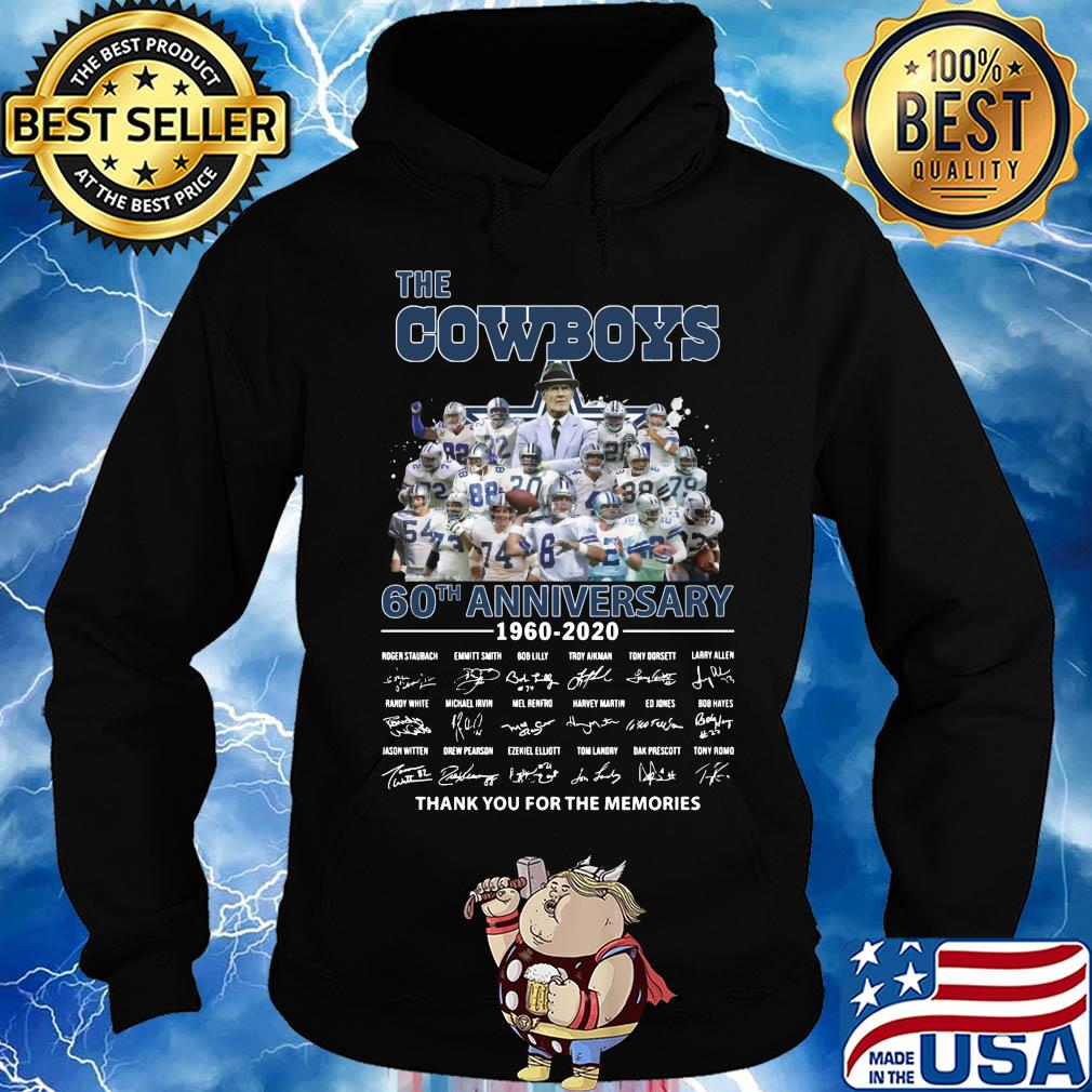 The dallas cowboys 60th anniversary 1960-2020 signature thank you for the memories s Hoodie