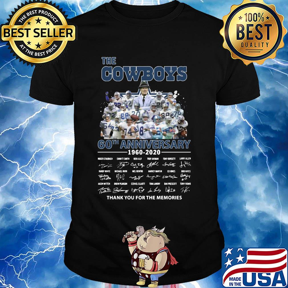 The dallas cowboys 60th anniversary 1960-2020 signature thank you for the memories shirt