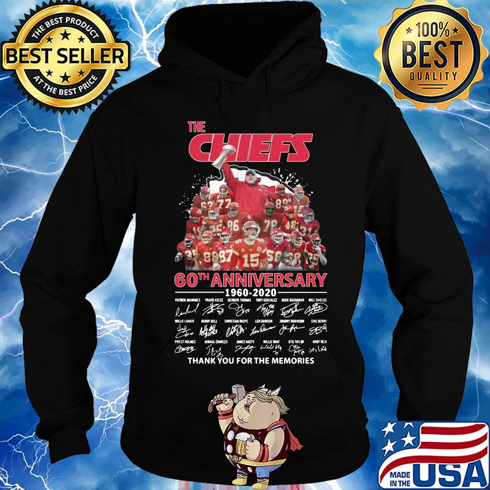 The kansas city chiefs 60th anniversary 1960-2020 signatures thank you for the memories s Hoodie