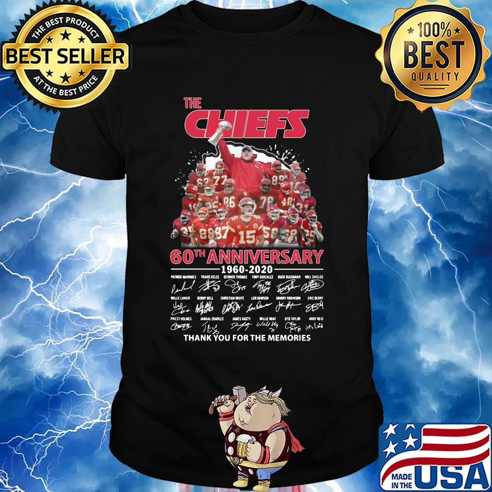 The kansas city chiefs 60th anniversary 1960-2020 signatures thank you for the memories shirt