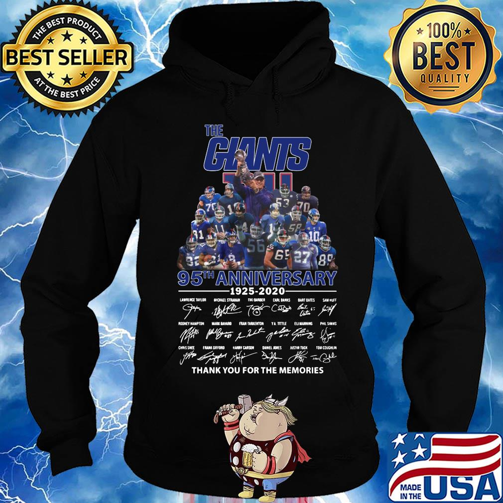 The New York Giants 95th anniversary 1925-2020 signature thank you for the memories s Hoodie
