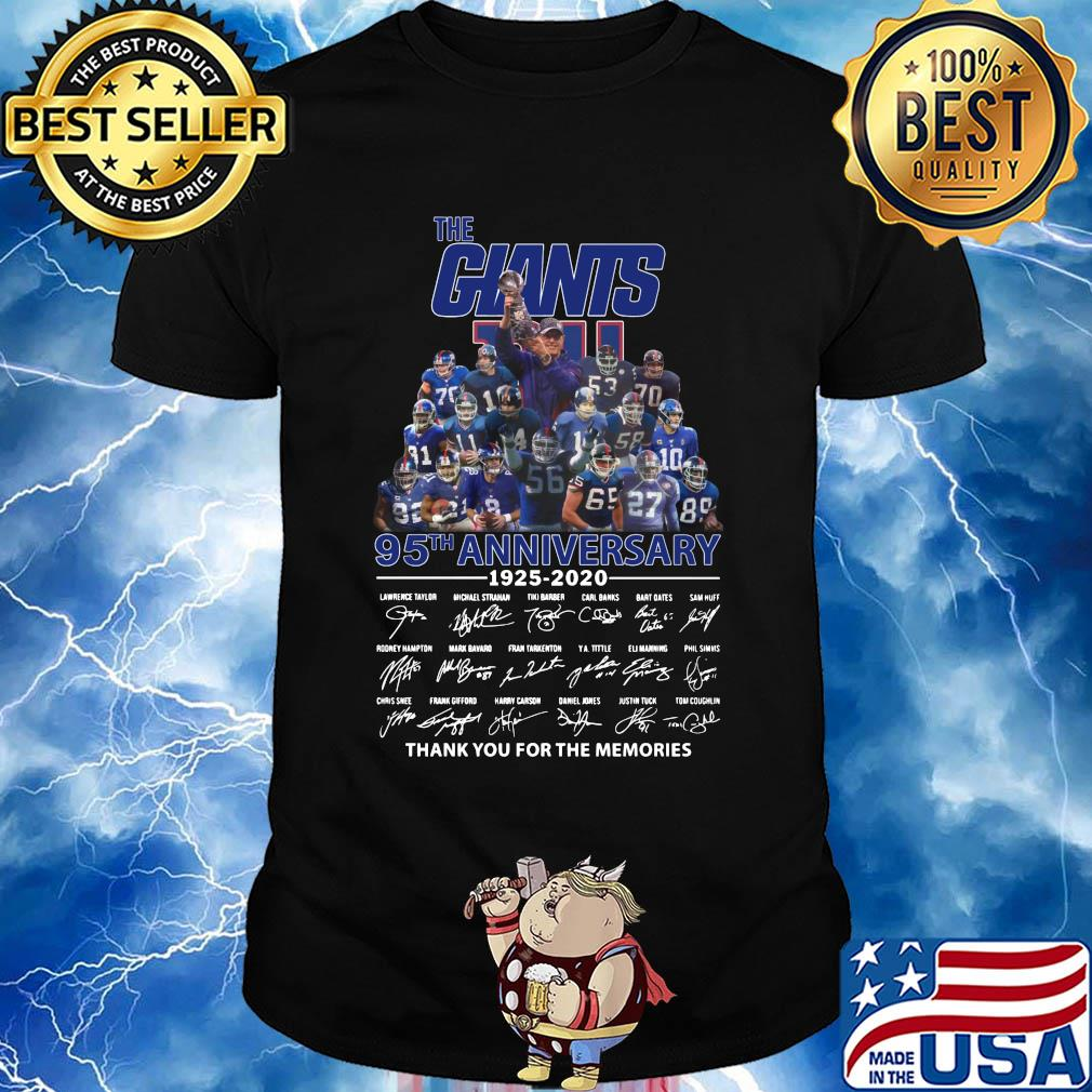 The New York Giants 95th anniversary 1925-2020 signature thank you for the memories shirt