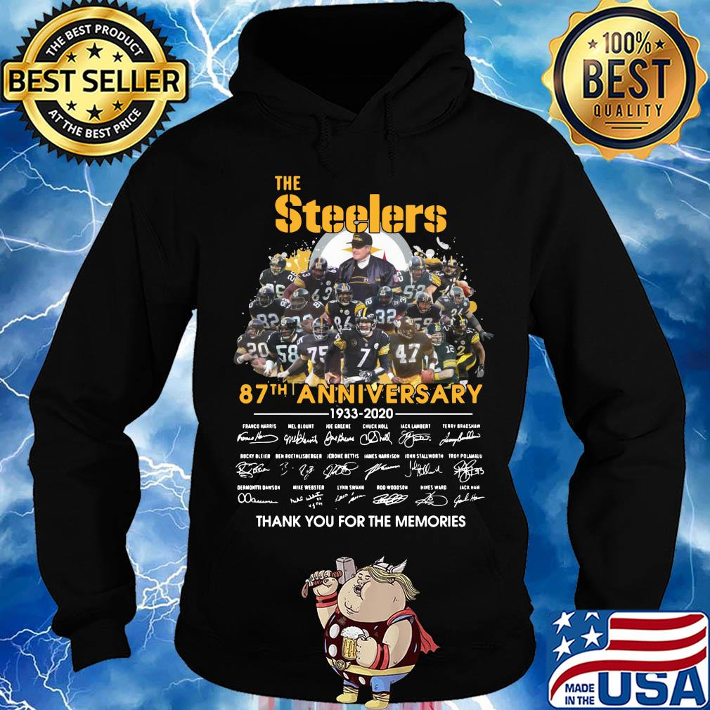 The Pittsburgh Steelers 87th anniversary 1933-2020 signatures thank you for the memories s Hoodie