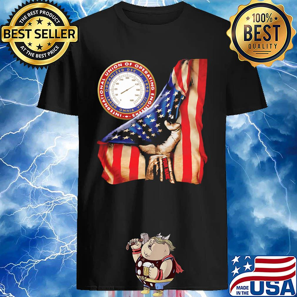 Union Of Operating Engineers International American Flag Personalized Your Name shirt