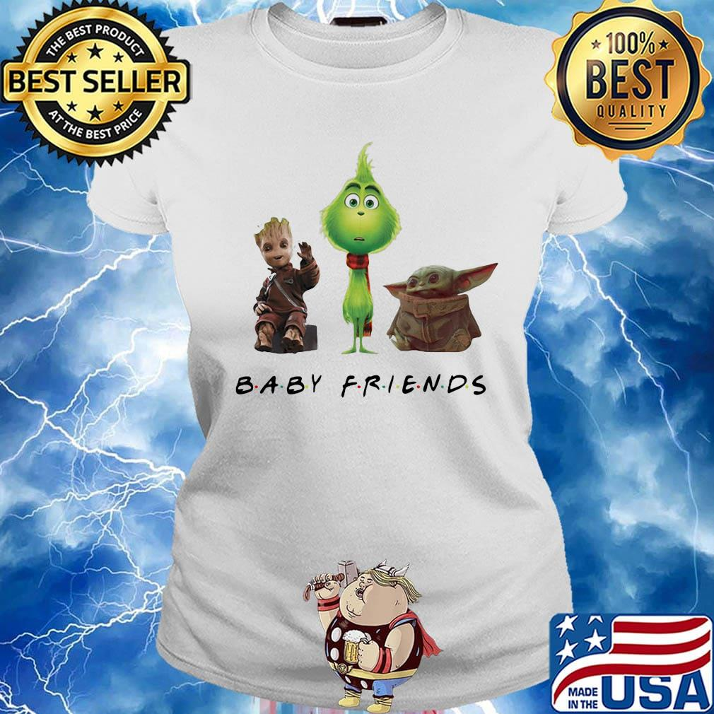 Baby groot grinch and baby yoda baby friends s Ladies tee