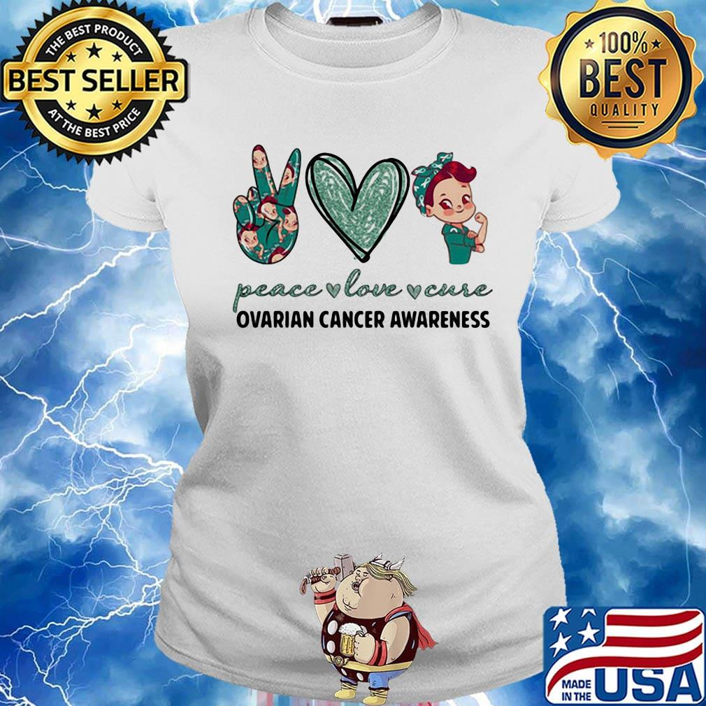 Peace Love Cure Ovarian Cancer Awareness Heart Shirt Hoodie Sweater Long Sleeve And Tank Top