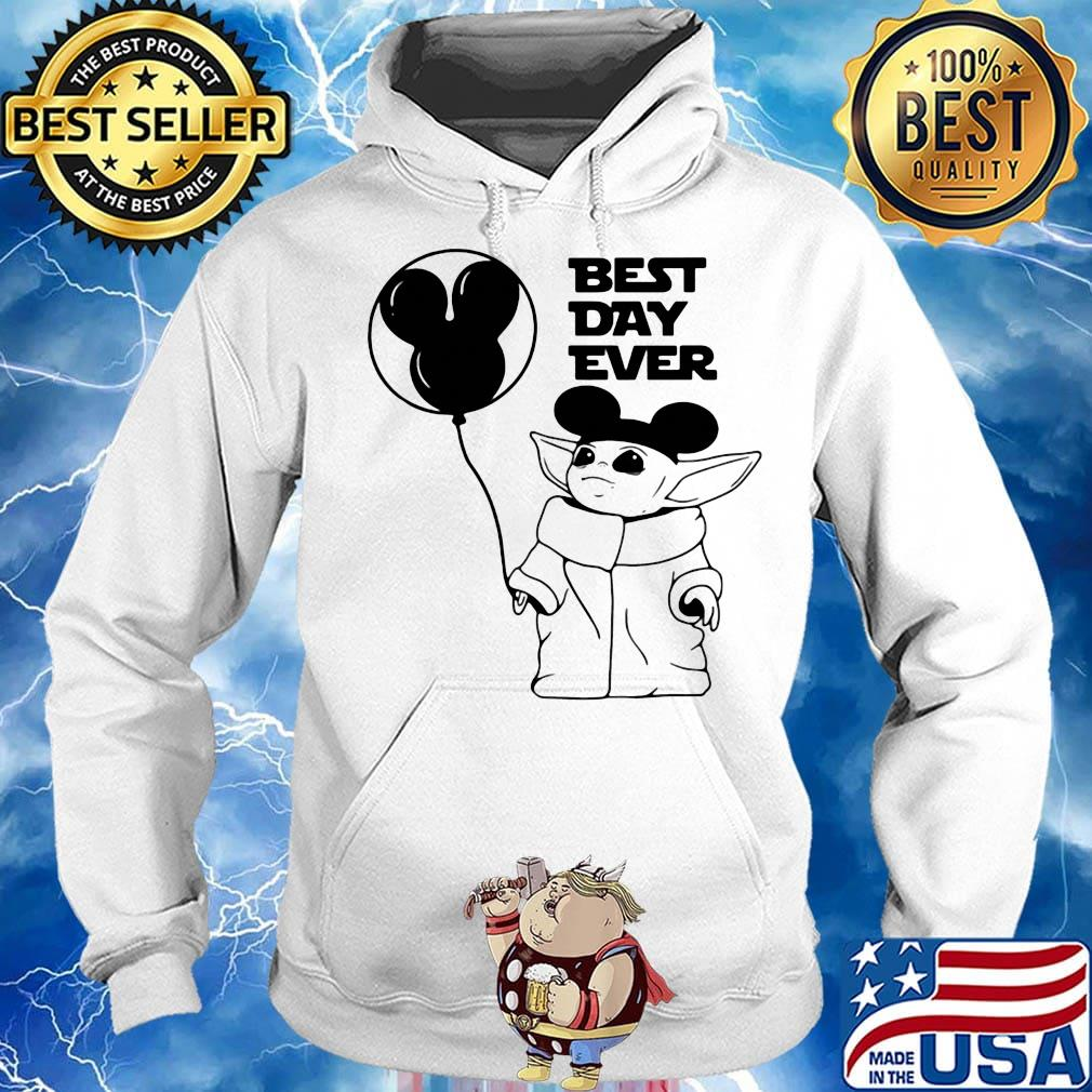 Star wars baby yoda holding balloon mickey mouse best day ever s Hoodie