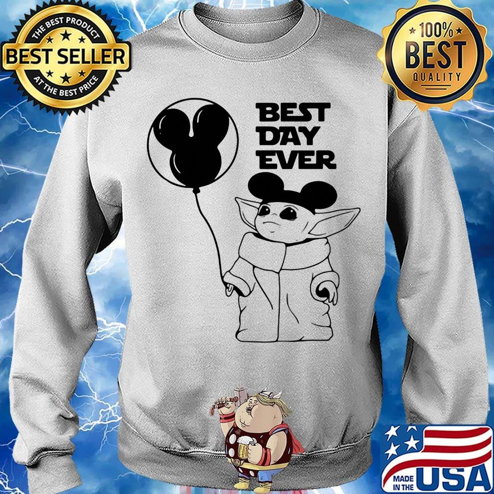 Star wars baby yoda holding balloon mickey mouse best day ever s Sweater
