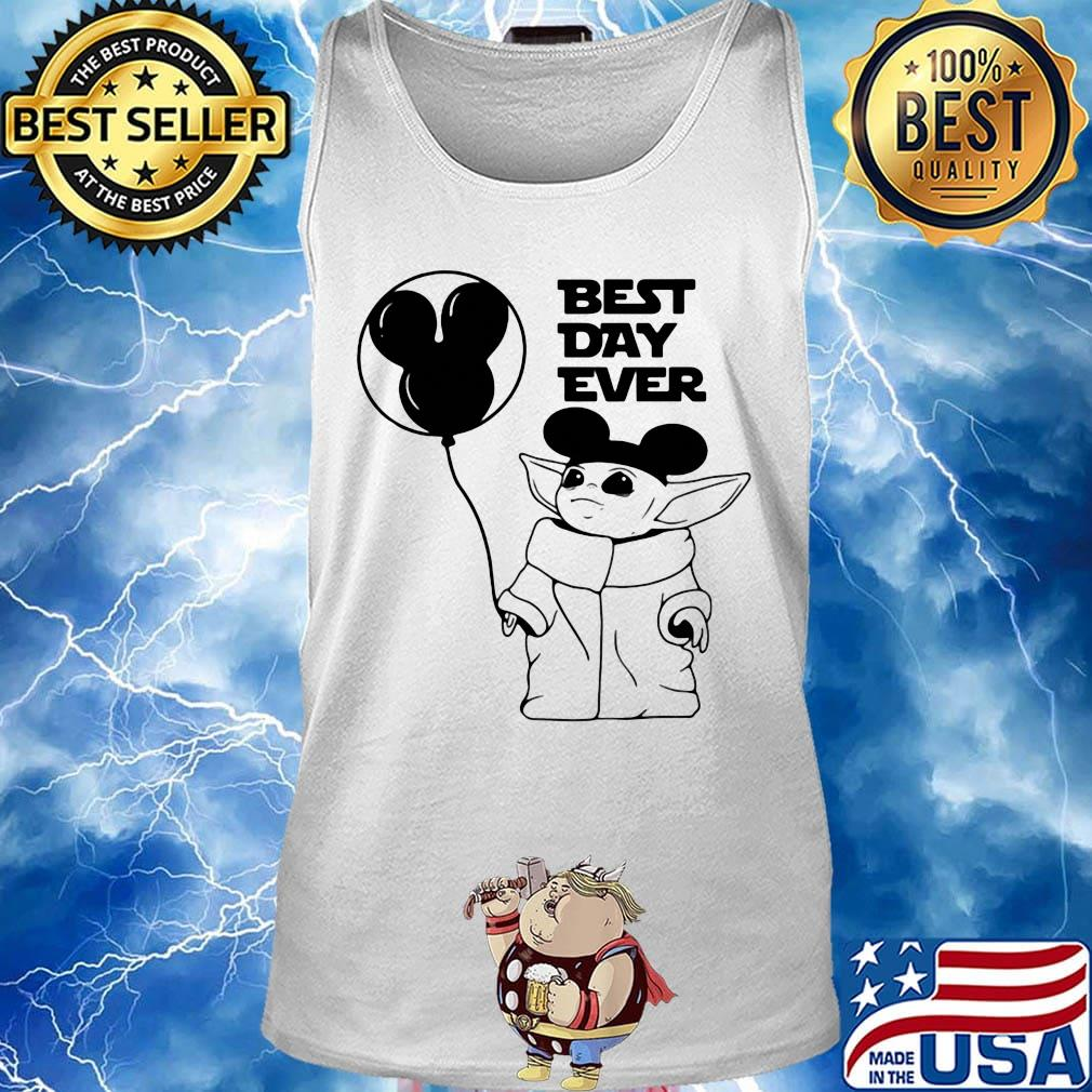 Star wars baby yoda holding balloon mickey mouse best day ever s Tank top