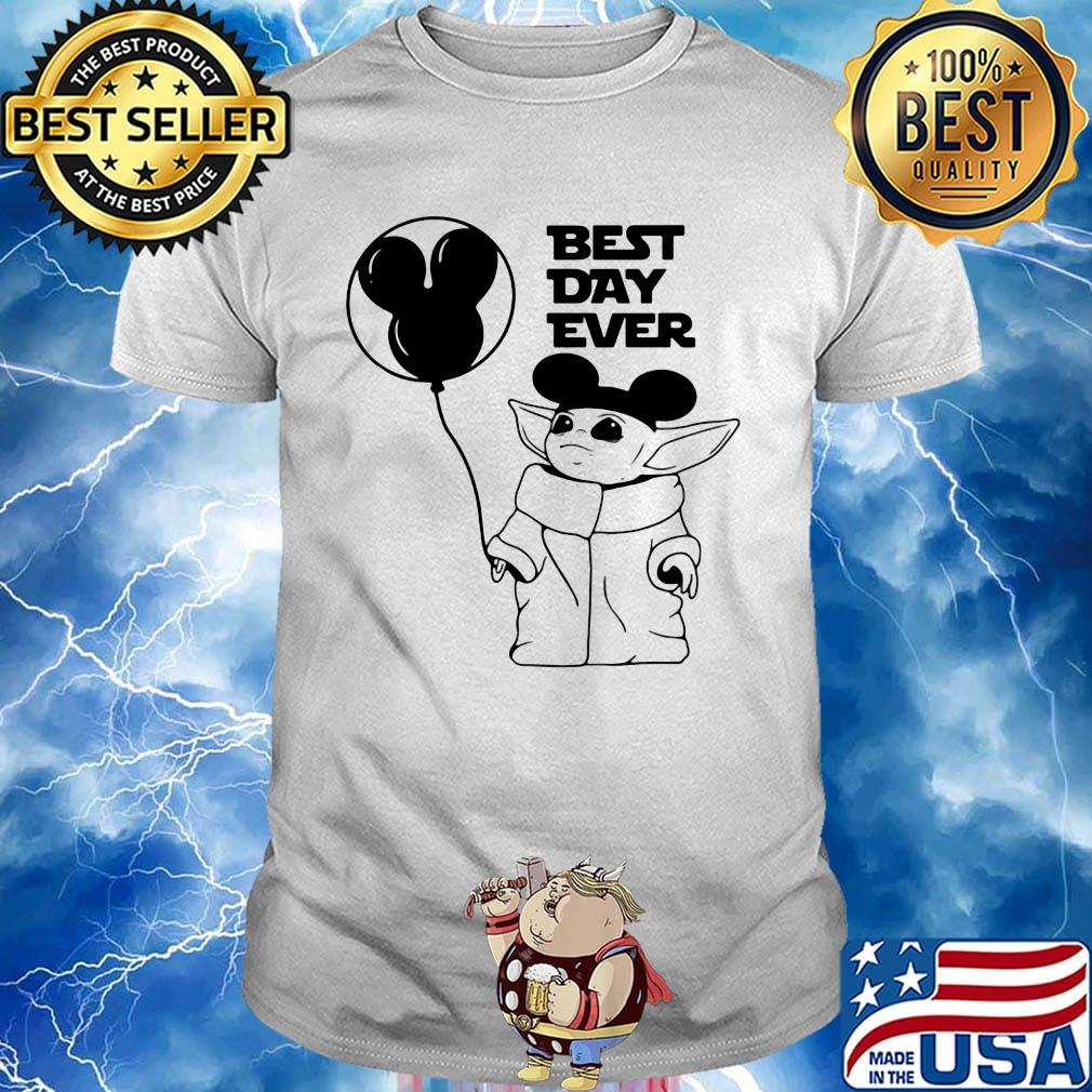 Star wars baby yoda holding balloon mickey mouse best day ever shirt