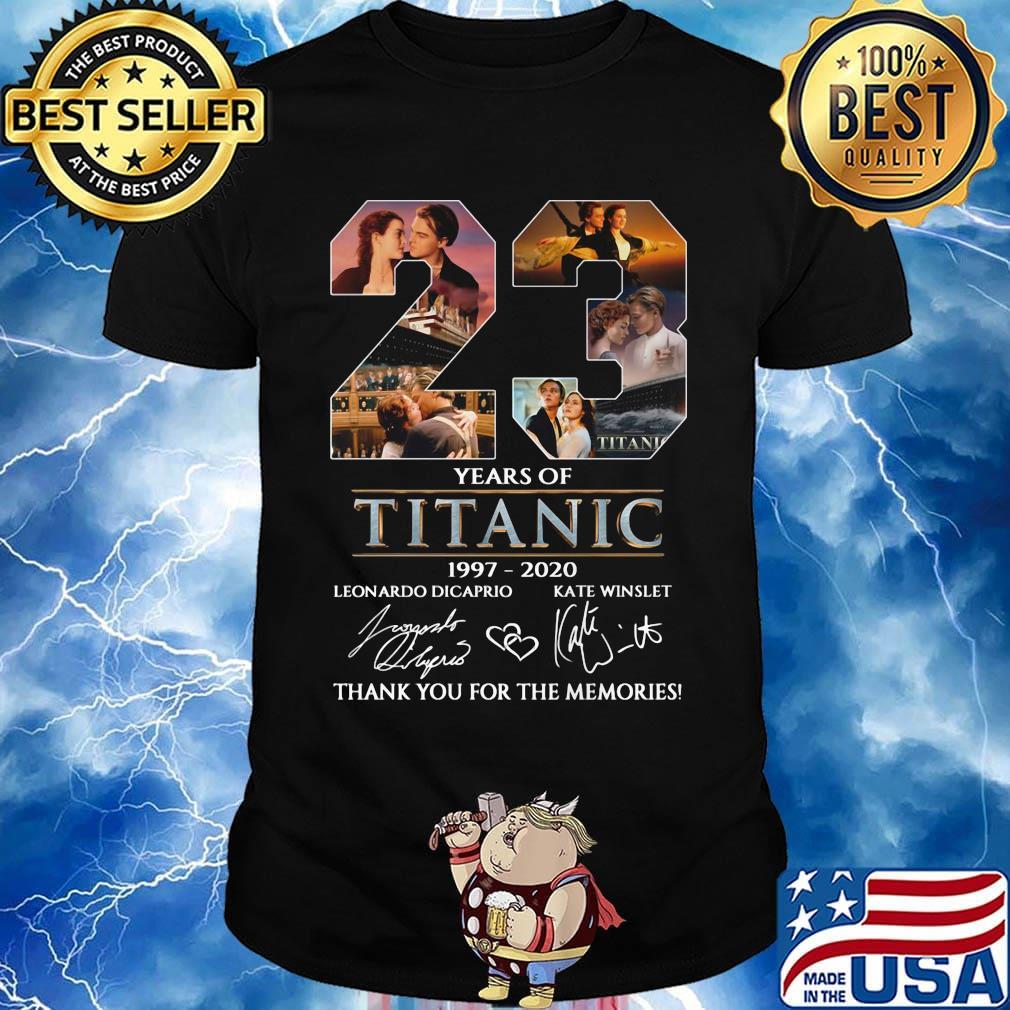 23 Years Of Titanic 1997 2020 Leonardo Dicaprio Kate Winslet Signature Shirt Hoodie Sweater Long Sleeve And Tank Top