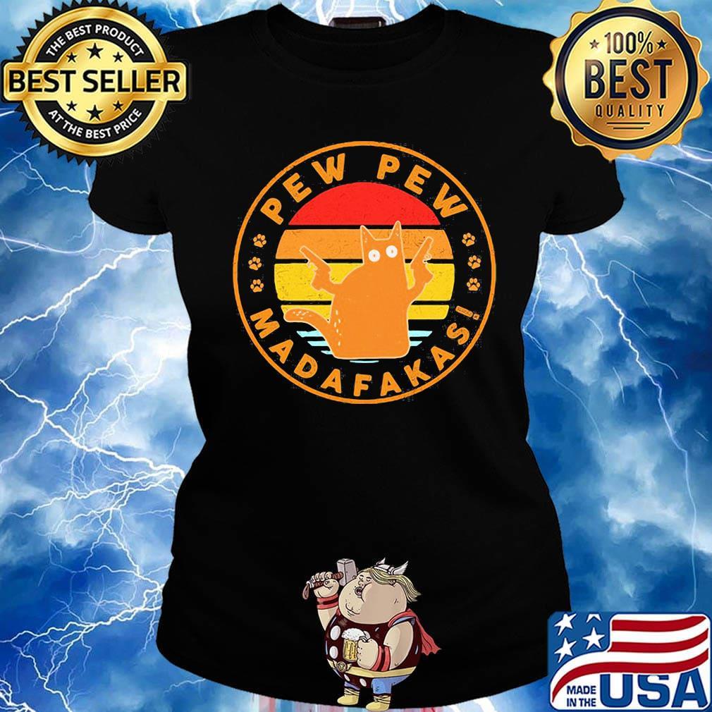 Pew Pew Madafakas Tshirt Unisex Mens Womens Funny Cat Retro Vintage Tee Top Gift
