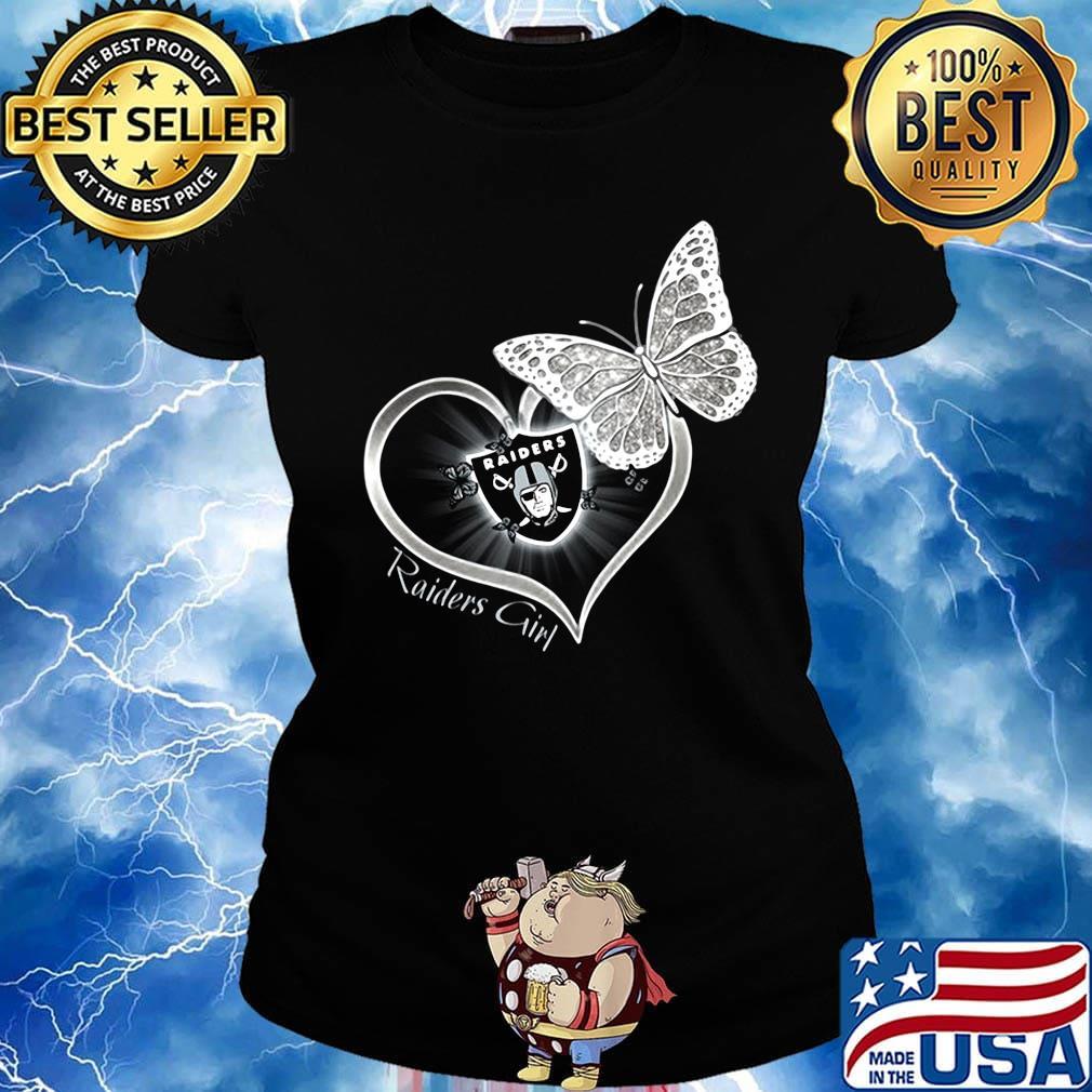 Raiders girl love butterfly s Ladies tee