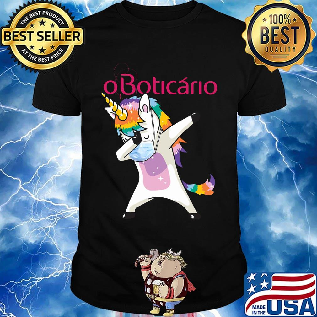 Unicorn mask oboticario logo shirt