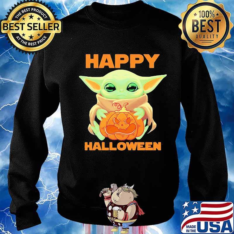 Baby Yoda Hug Pumpkin Happy Halloween Shirt Hoodie Sweater Long Sleeve And Tank Top