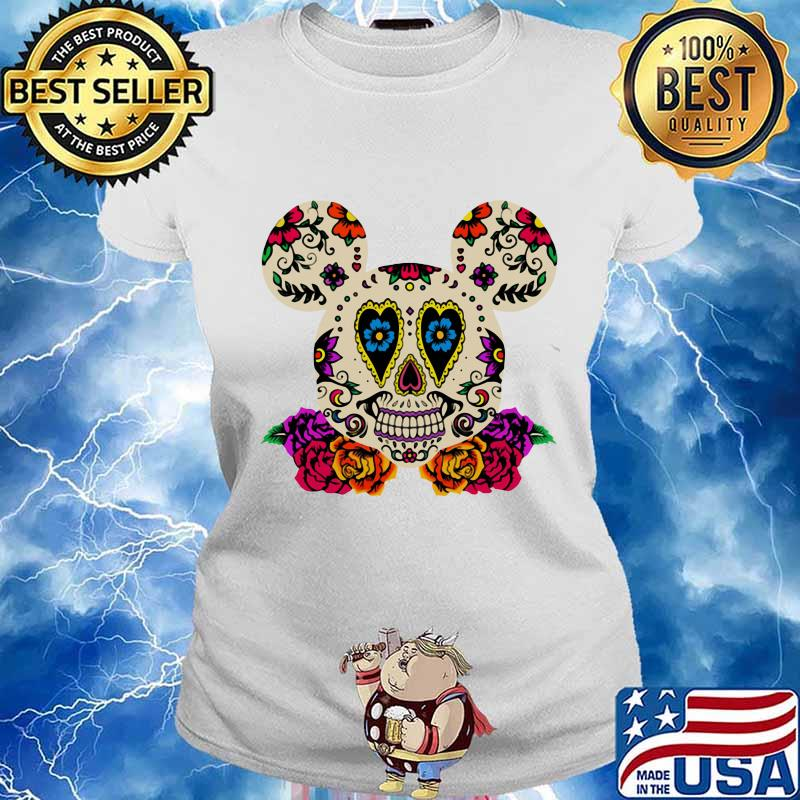 Sugar mickey mouse witch flowers s Ladies tee