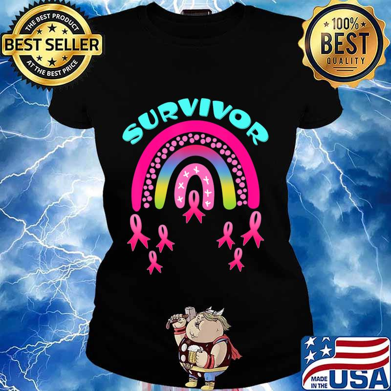 Breast Cancer Survivor Pink Rainbow Lovers T-Shirt Ladies tee
