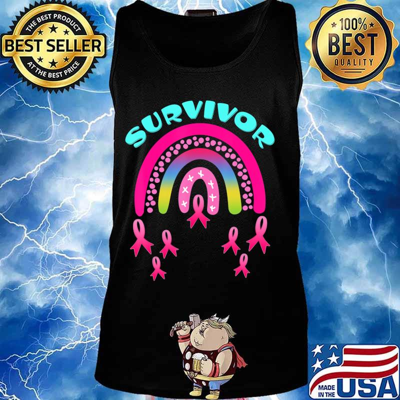 Breast Cancer Survivor Pink Rainbow Lovers T-Shirt Tank top