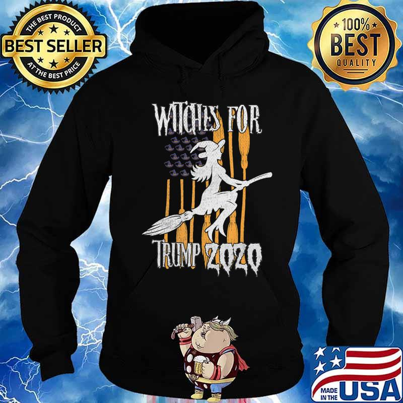 Funny Witches for Trump Halloween US Flag Broomstick Hat T-Shirt Hoodie