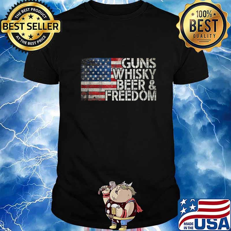 Gun Whiskey Beer and Freedom American Flag Vintage T-Shirt