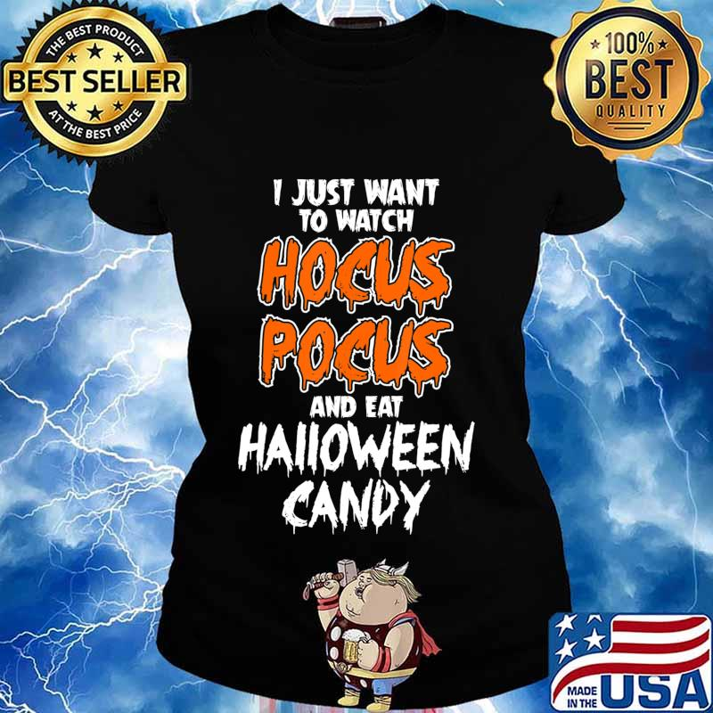 Hocus Pocus and Eat Halloween Candy Funny T-Shirt Ladies tee