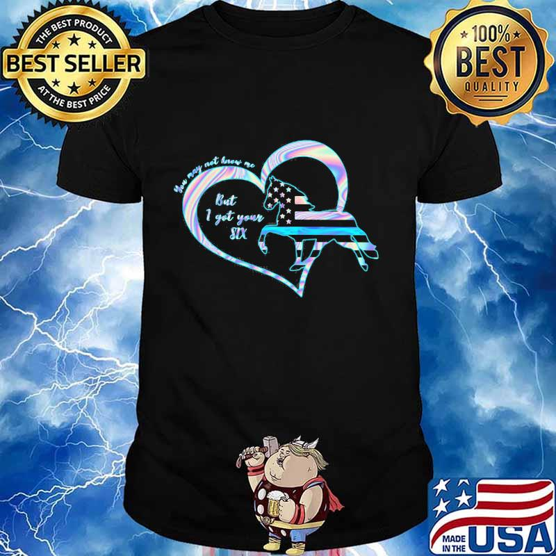 Horse you may not know me but i got your six heart american flag hologram shirt
