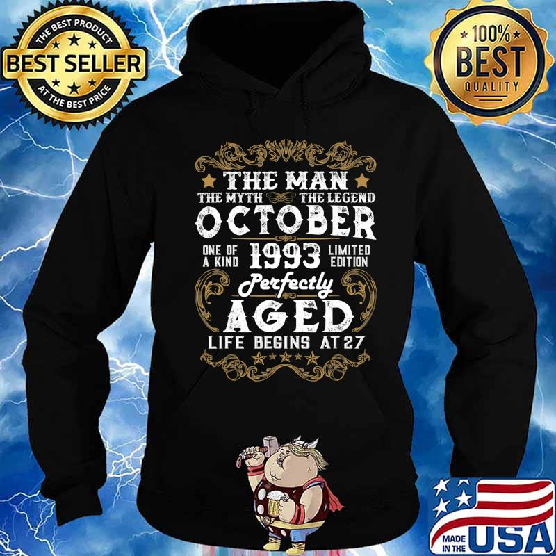 27th Birthday Gifts Presents Year 1993 Mens Ringer Vintage Retro T-Shirt Aged To