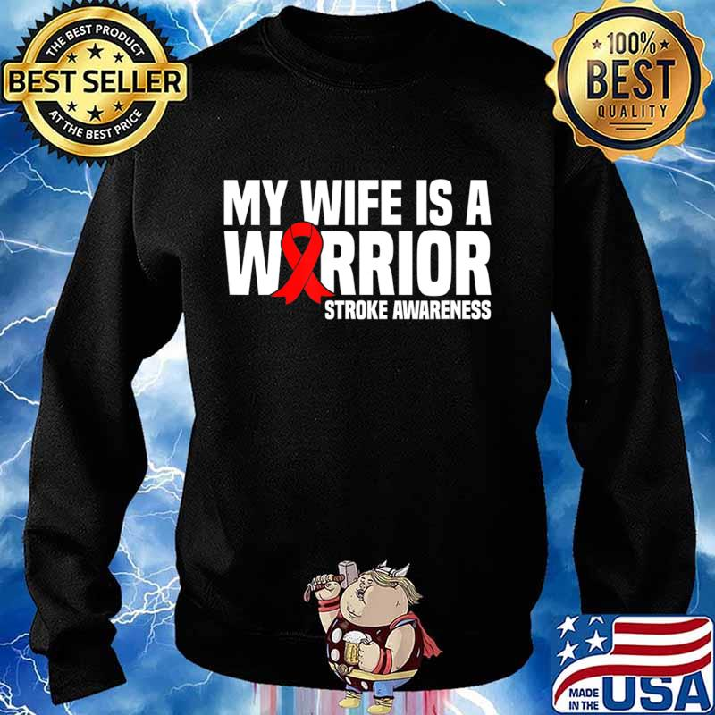 My Wife is a Warrior Red Ribbon Stroke Awareness T-Shirt Sweater