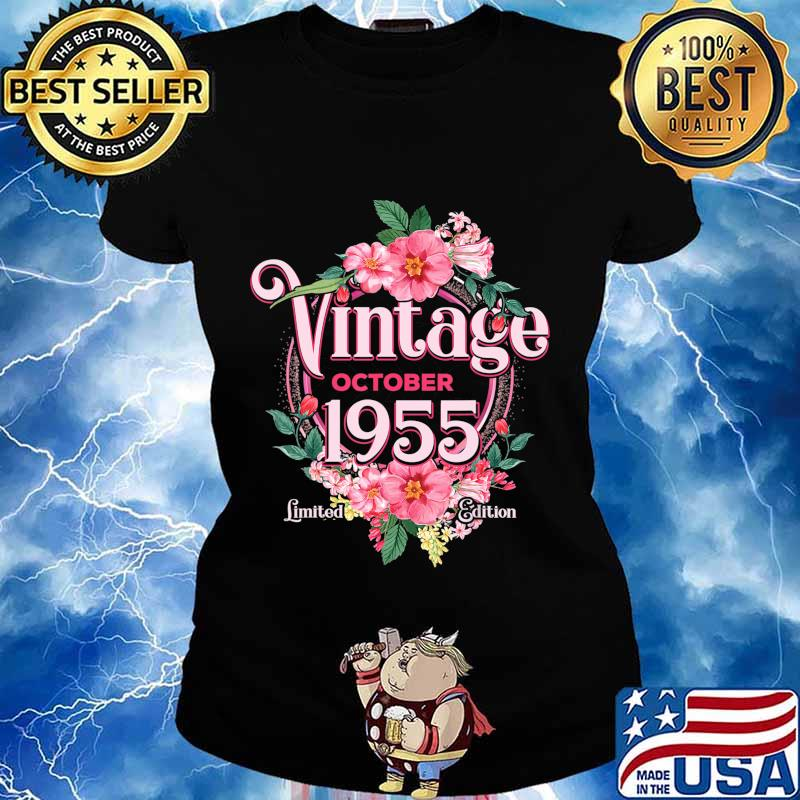 October 1955 Birthday Gift 65th Flowers Limited Edition T-Shirt Ladies tee