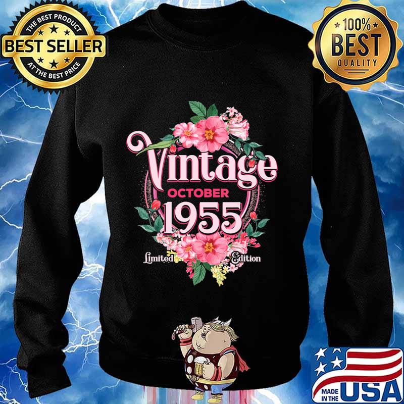 October 1955 Birthday Gift 65th Flowers Limited Edition T-Shirt Sweater