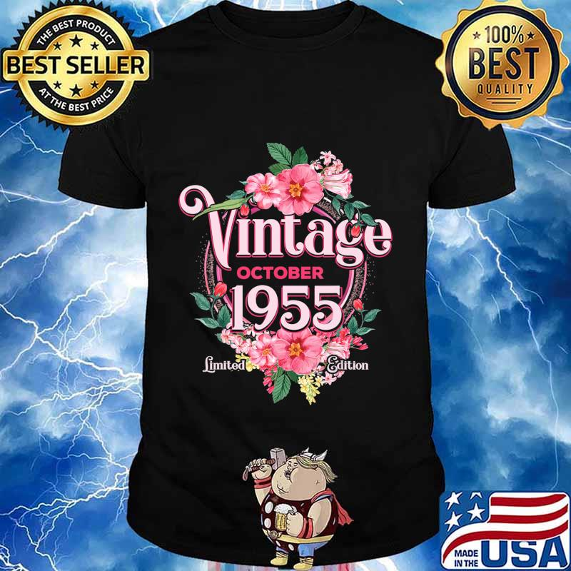 October 1955 Birthday Gift 65th Flowers Limited Edition T-Shirt