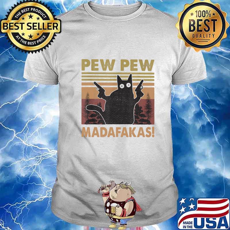 Pew Pew Madafakas Cat Crazy Vintage Retro Graphic Sudadera