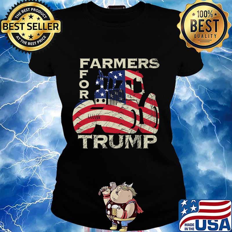 US Republican USA Patriot Farmers for Trump Election T-Shirt Ladies tee