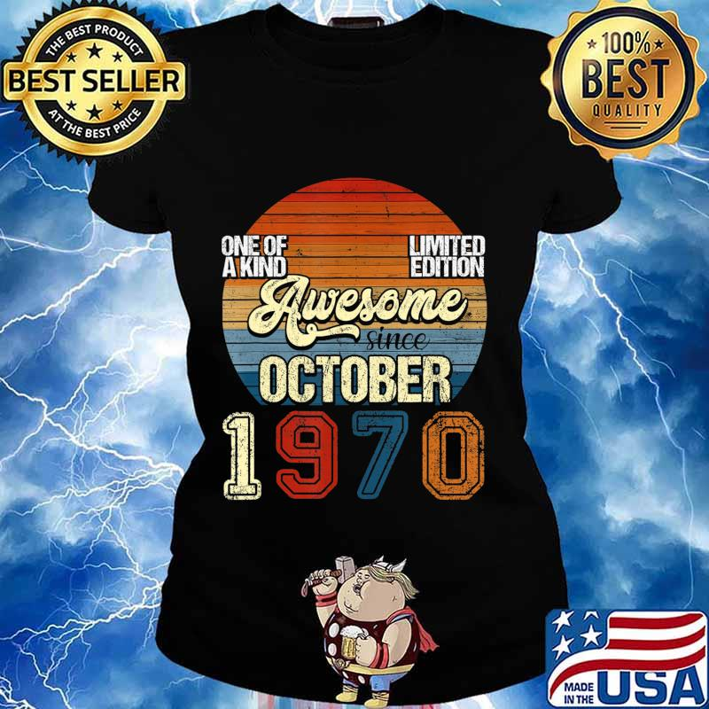 Vintage October 1970 50 Years Old 50th Birthday Gifts T-Shirt Ladies tee