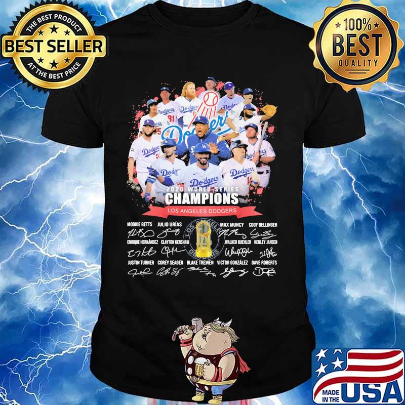 2020 world series champions los angeles dodgers cup signatures shirt