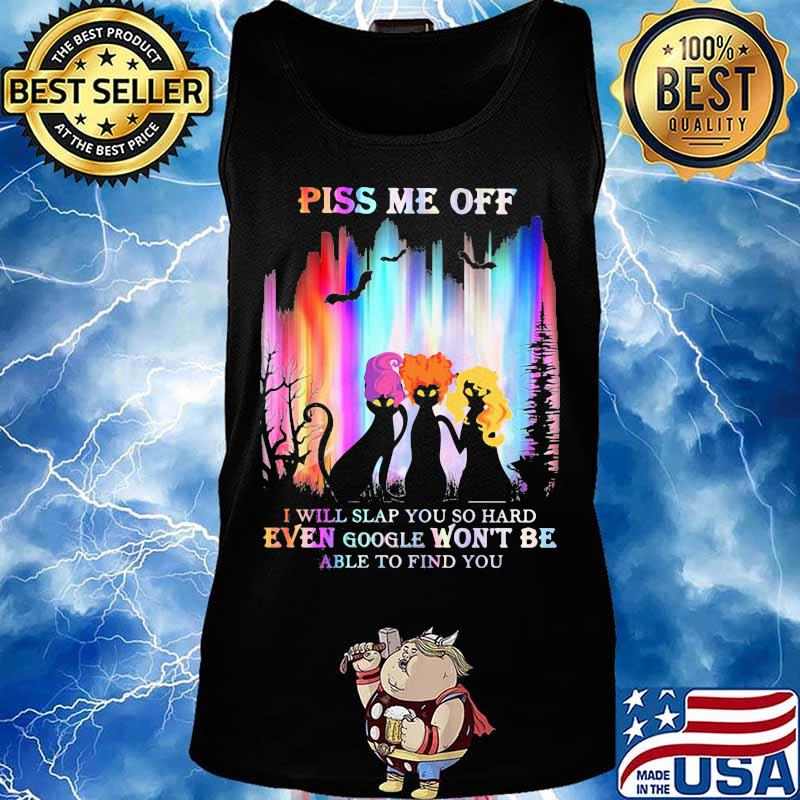 Halloween black cat hocus pocus piss me off i will slap you so hard even google won't be able to find you s Tank top