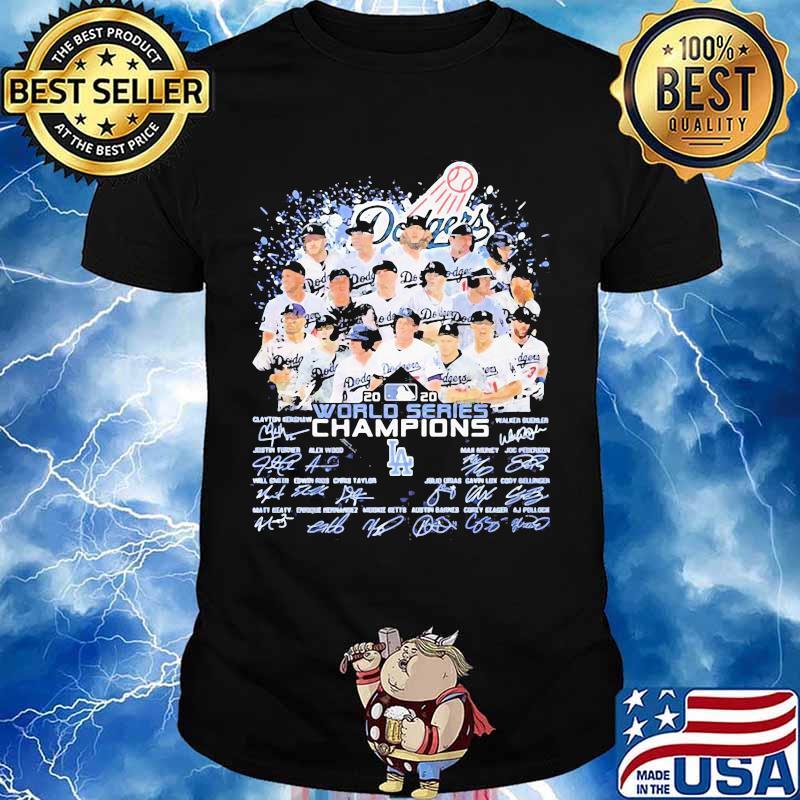 Los angeles dodgers world series champions signatures 2020 shirt