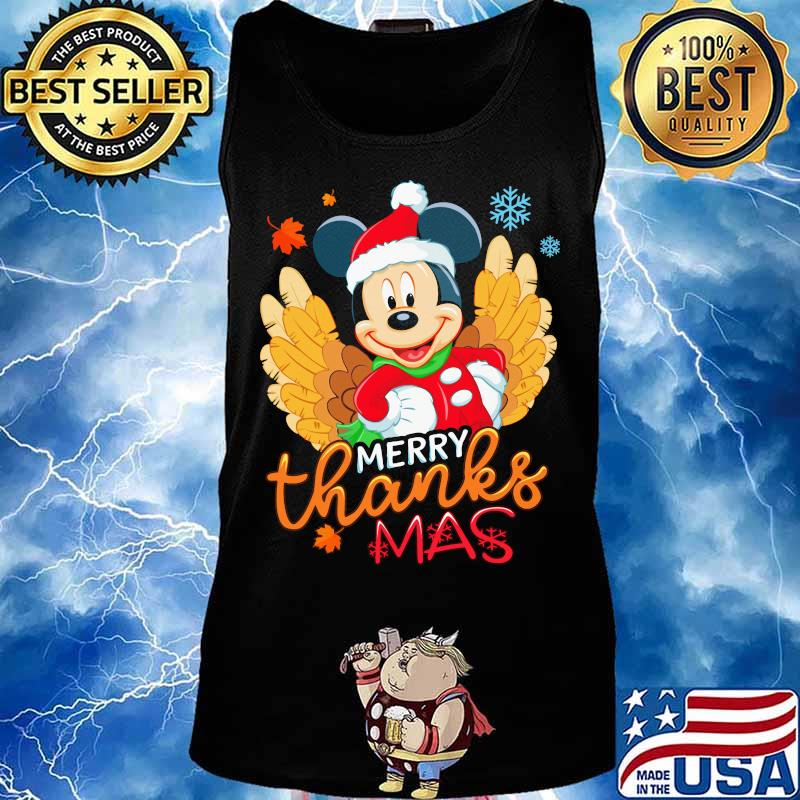 Mickey Mouse Happy Merrythanksmas Thanksgiving Christmas Shirt Hoodie Sweater Long Sleeve And Tank Top