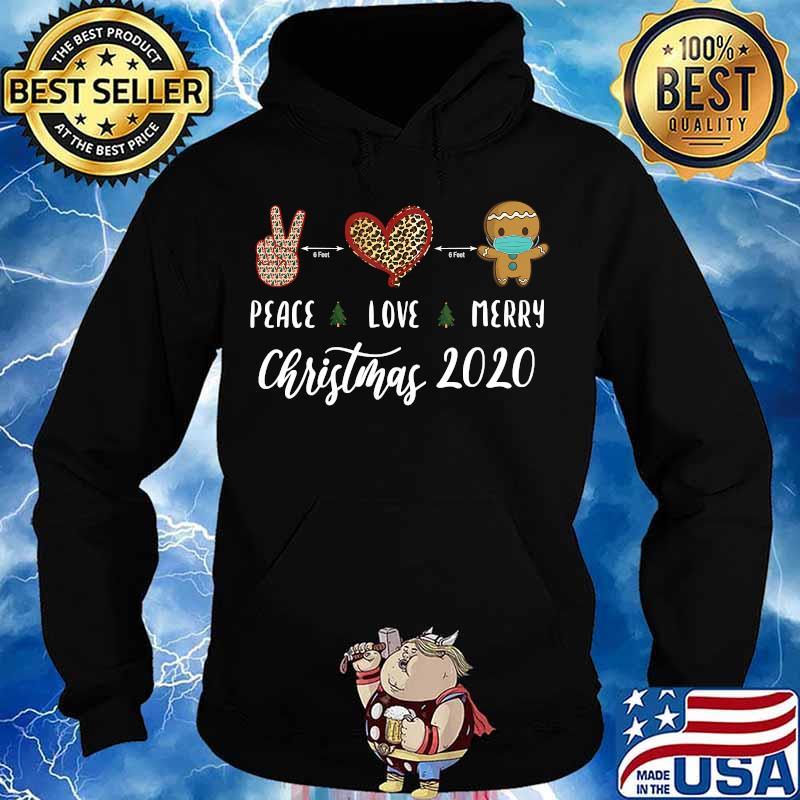 Peace Love Merry Christmas 2020 Gingerbread mask Shirt Hoodie