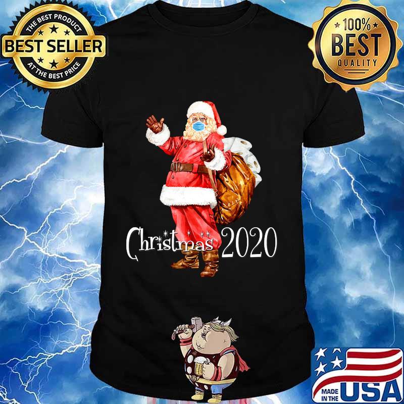 Santa Wear Face Mask And Toilet Paper Bag Christmas 2020 Shirt