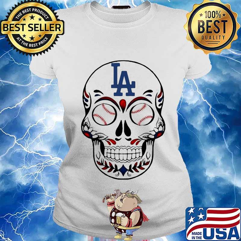 Skull Los Angeles LA Dodgers Logo Baseball Shirt Ladies tee