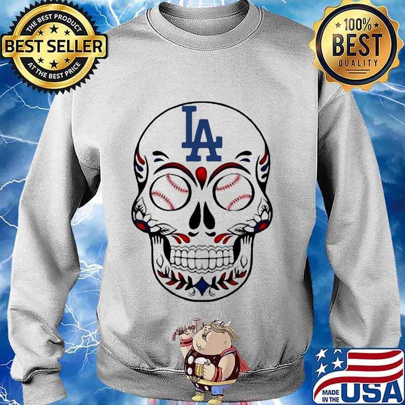 Skull Los Angeles LA Dodgers Logo Baseball Shirt Sweater